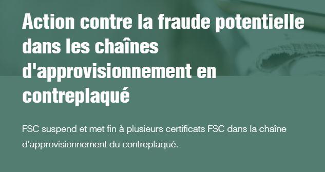 Résiliation et suspension du certificat FSC pour des entreprises (contreplaqué)